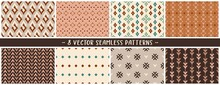 Set Of Vector Eps Geometric Seamless Mix And Match Patterns In Tan, Burnt Oranges, Pleasing Champagne Tones To Create Your Custom Designs, Branding, Packaging, Furniture, Interior Objects And Surfaces