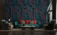 Modern Luxury Living Room Design, Tropical Forest Wallpaper Decoration, Botanical Leaves, Palm Trees, Dark Green Colors, Sofas With Lighting Table And Decorative