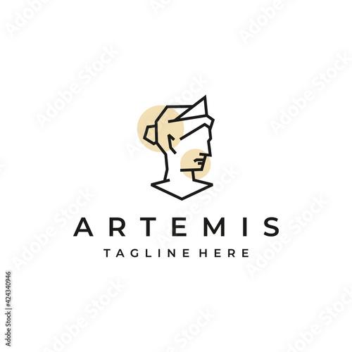 Stampa su Tela Goddess greek Artemis Line art Logo Design Template