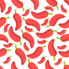 Chilli Seamless Pattern On White Background. Spices Background Texture.It Be Perfect For Fabric, Wrapping, Packaging, Digital Paper And More