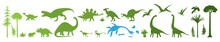 Green Dino Silhouettes, Vector Illustration Isolated On White Background. Dinosaur, Jurassic Wild Animals.