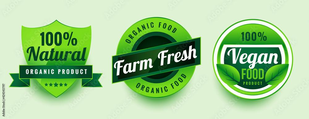 Fototapeta farm fresh vegan food labels set