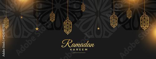 Fototapeta ramadan kareem holy festival banner in black and golden style obraz