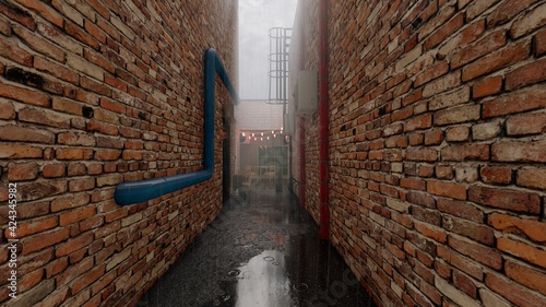 Fotografering foggy brick alleyway rain aesthetic