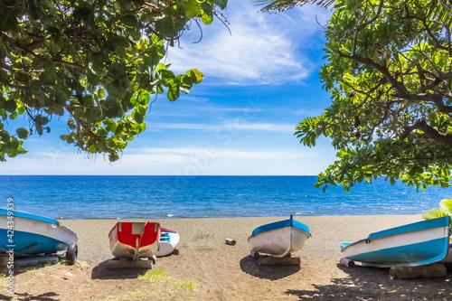 Fototapeta Barques de pêche sur plage de Saint-Paul, île de la Réunion