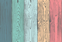 Vector Seamless Wood Textures, Colorful Painted Wooden Fence Or Wall, Vertical Boards Of Different Colors In A Solid Pattern, Wooden Rainbow