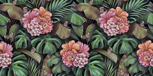 Tropical Seamless Pattern With Bouquets Of Flowers, Plumeria, Cactus, Hibiscus, Butterflies, Monstera, Palm, Banana Leaves. Hand-drawn Vintage 3D Illustration. Good For Lux Wallpapers, Fabric Printing
