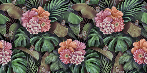 Obraz na plátně Tropical seamless pattern with bouquets of flowers, plumeria, cactus, hibiscus, butterflies, monstera, palm, banana leaves