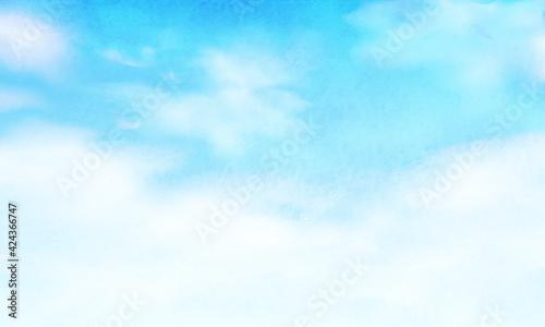 空と雲のグラデーションの水彩風景のベクターイラスト背景