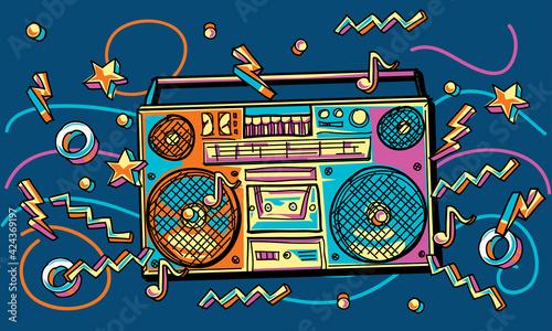 Fototapeta Funky colorful drawn boom box obraz