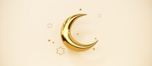 Ramadan Kareem Greeting Template With Arabic Lantern, Moon, Gift, Presents And Stars. Podium, Stand On Holiday Light Background For Advertising Products - 3d Render Illustration For Cards, Greetings.