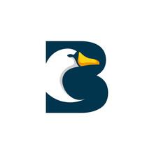 Letter B Goose Logo Design Template Inspiration, Swan Vector, Initial Logo.