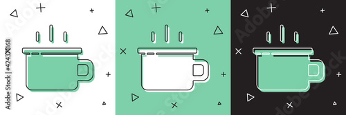 Obraz na plátně Set Coffee cup icon isolated on white and green, black background