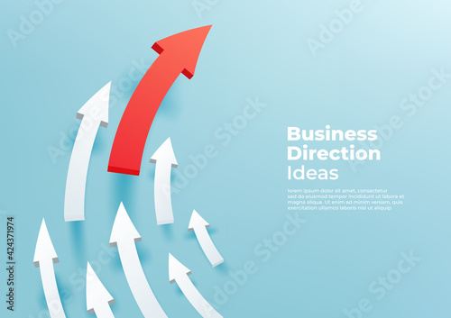 Curved white 3d arrows directed upwards, progress way and forward achievement creative concept. Red arrow up to growth success.