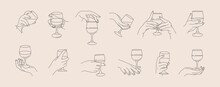 Set Of Woman's Hands Holding A Wineglass Of In Minimal Trendy Style . Vector Line Icons Of Female Hands