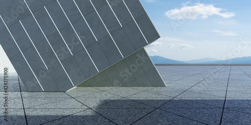 Obraz na plátne Thirty degree angle tilted contemporary building