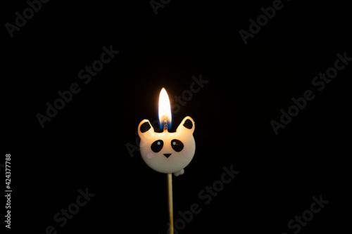 Canvas Print bougie d'anniversaire en forme de panda sur fond noir