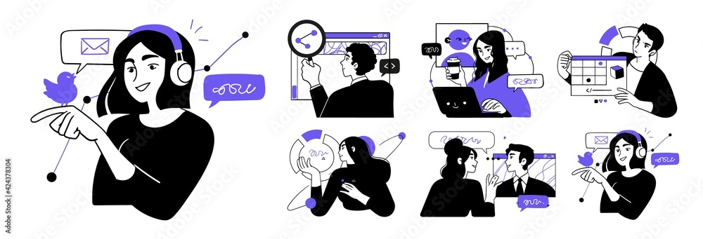 Fototapeta Business Concept illustrations. Collection of scenes with men and women taking part in business activities