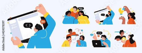 Fototapeta Business Concept illustrations. Collection of scenes with men and women taking part in business activities obraz