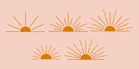 Vector set of sun boho icons and symbols design vector illustration. abstract vector design elements for decoration in modern minimalist style for social media posts, stories, wallpaper, wall art.