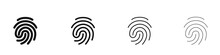 Fingerprint Icons Set. Identity, Authorization Or Privacy Concept. Vector Illustration In Modern Style