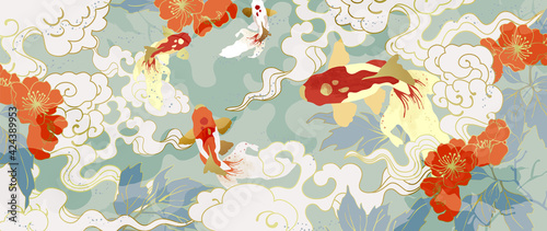 Obraz Luxury gold oriental style background vector. Chinese and Japanese oriental line art with golden texture. Wallpaper design with flower and koi carp fish. Ocean and wave wall art. Vector illustration. - fototapety do salonu