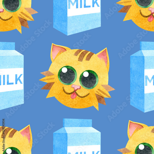 A seamless pattern of funny red cats and cardboard boxes of milk. Creative children's texture. Watercolor illustrations on a blue background. For fabric, baby textiles, websites, wallpaper, packaging.