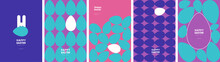 Happy Easter. Patterns. Modern Geometric Abstract Style. A Set Of Vector Easter Illustrations. Easter Eggs, Rabbit. Perfect For A Poster, Cover, Or Postcard.