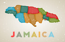 Jamaica Map. Country Poster With Colored Regions. Old Grunge Texture. Vector Illustration Of Jamaica With Country Name.
