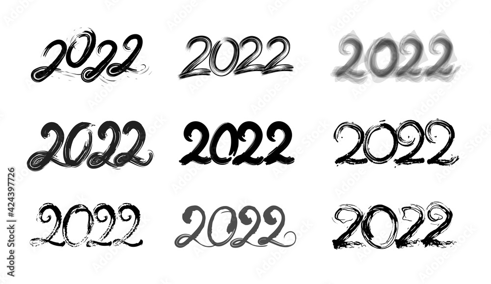Fototapeta 2022 - holiday number collection. Use it for card, banner or logo creation.