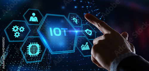 Fototapeta Internet of things - IOT concept. Businessman offer IOT products and solutions. obraz