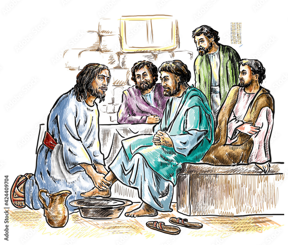 Fototapeta Maundy Thursday, Good or Holy Thursday color illustration with washing of the feet. Jesus and the Apostles.