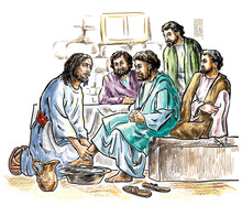 Maundy Thursday, Good Or Holy Thursday Color Illustration With Washing Of The Feet. Jesus And The Apostles.