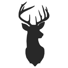 Black Vector Silhouette Of Deer's Head With Antlers Isolated On White Background