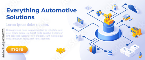 Obraz EVERYTHING AUTOMOTIVE SOLUTIONS - Isometric Design in Trendy Colors Isometrical Icons on Blue Background. Banner Layout Template for Website Development - fototapety do salonu
