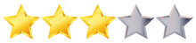 Three 3 Star Rank Sign. Glossy Golden Star Sticker Icon Rating Isolated On White Background. 3d Three Gold Stars From Five Gray Stars. Vector Isolated Illustration EPS10