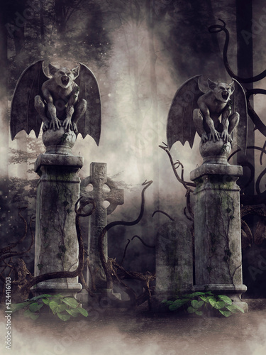 Fototapeta Dark landscape with a gate to a cemetery guarded by two stone gargoyles