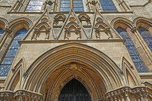 Architectural Detail Of Crescent Doorway Of York Minster Cathedral In York
