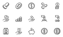 Set Of Vector Line Icons Related To Coins. Stack Of Coins, Hoarding, Cash Savings. Editable Stroke. 48x48 Pixel Perfect.