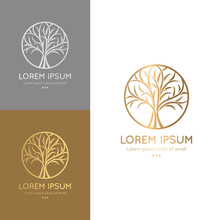 Golden And Silver Tree Emblems. Modern Illustration. Isolated Vector. Great For Logo, Monogram, Invitation, Flyer, Menu, Brochure Or Any Desired Idea.