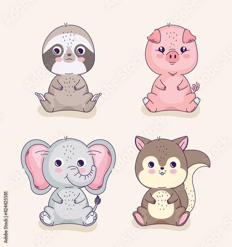 Fototapeta premium four cute animals
