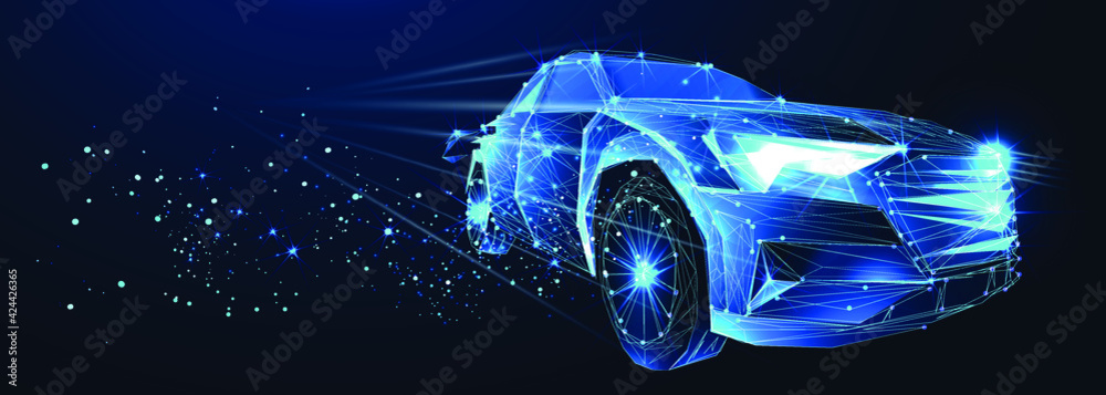 Fototapeta Electric car. Abstract vector 3d high speed sports car. Highway road. Isolated on  dark blue background. Digital futuristic polygonal low poly  mesh illustration