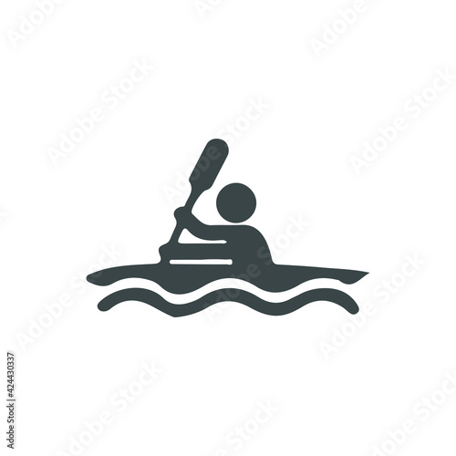 Fototapeta Man with oar in boat on water solid icon, waterpark concept, Rowing Boat sign on white background, Man row canoe icon in glyph style for mobile concept and web design