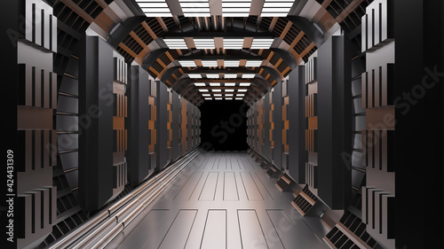 Fotografie, Obraz Sci-fi background corridor room smart future