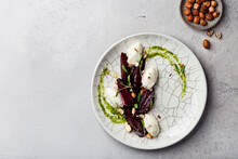 Beetroot And Cream Cheese Salad With Nuts And Pesto Sauce
