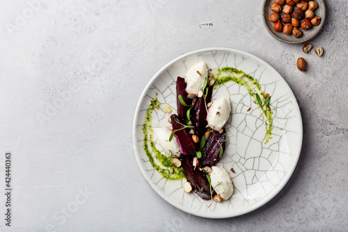 beetroot and cream cheese salad with nuts and pesto sauce Wallpaper Mural