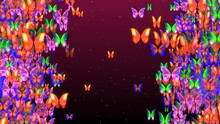 Sweet Colorful Swarm Butterflies Flying On Left And Right Border Space For Text With Glitter Dust On Red Background
