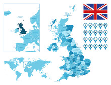 United Kingdom Detailed Administrative Blue Map With Country Flag And Location On The World Map. Vector Illustration