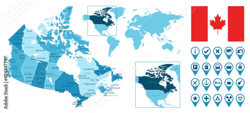 Fototapeta premium Canada detailed administrative blue map with country flag and location on the world map. Vector illustration
