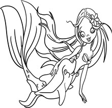 Coloring Book For Kid Fantasy Series Fairy Mermaid